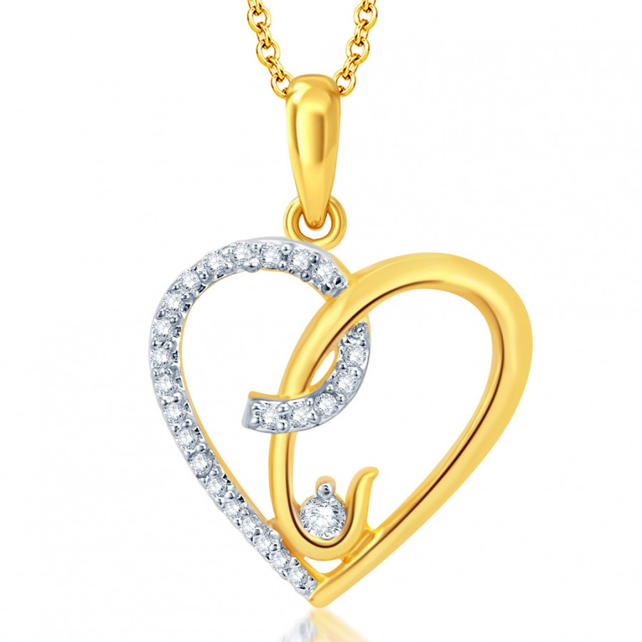 Buy Pissara Moddish Gold and Rhodium Plated CZ Heart Pendant With Chain Online