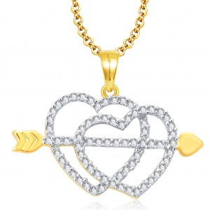 Buy Pissara Radiant Gold And Rhodium Plated CZ Pendant For Women Online