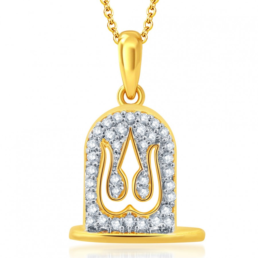 Buy Pissara Dazzling Gold and Rhodium Plated CZ Trishul God Pendant With Chain Online
