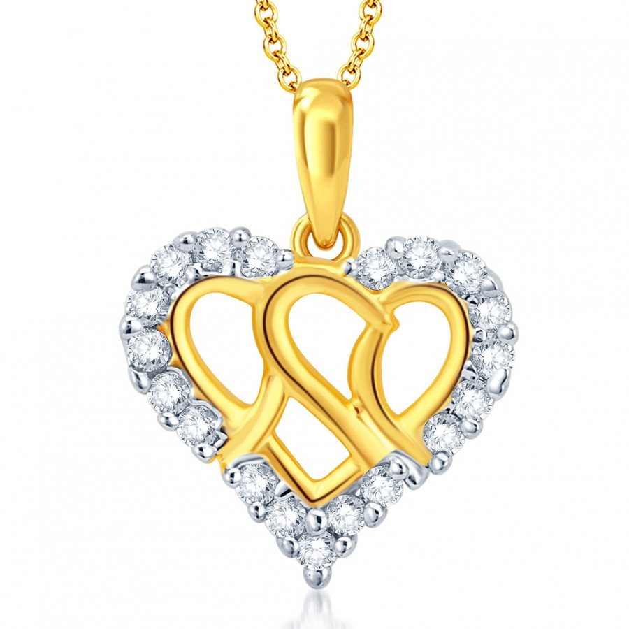 Buy Pissara Delightful Gold and Rhodium Plated CZ Heart Pendant With Chain Online