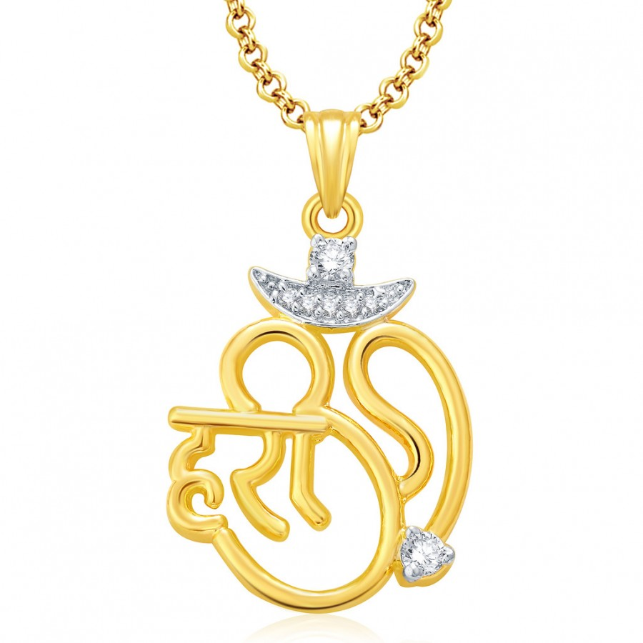 Buy Pissara Hari Om Gold And Rhodium Plated CZ Pendant Set For Women Online