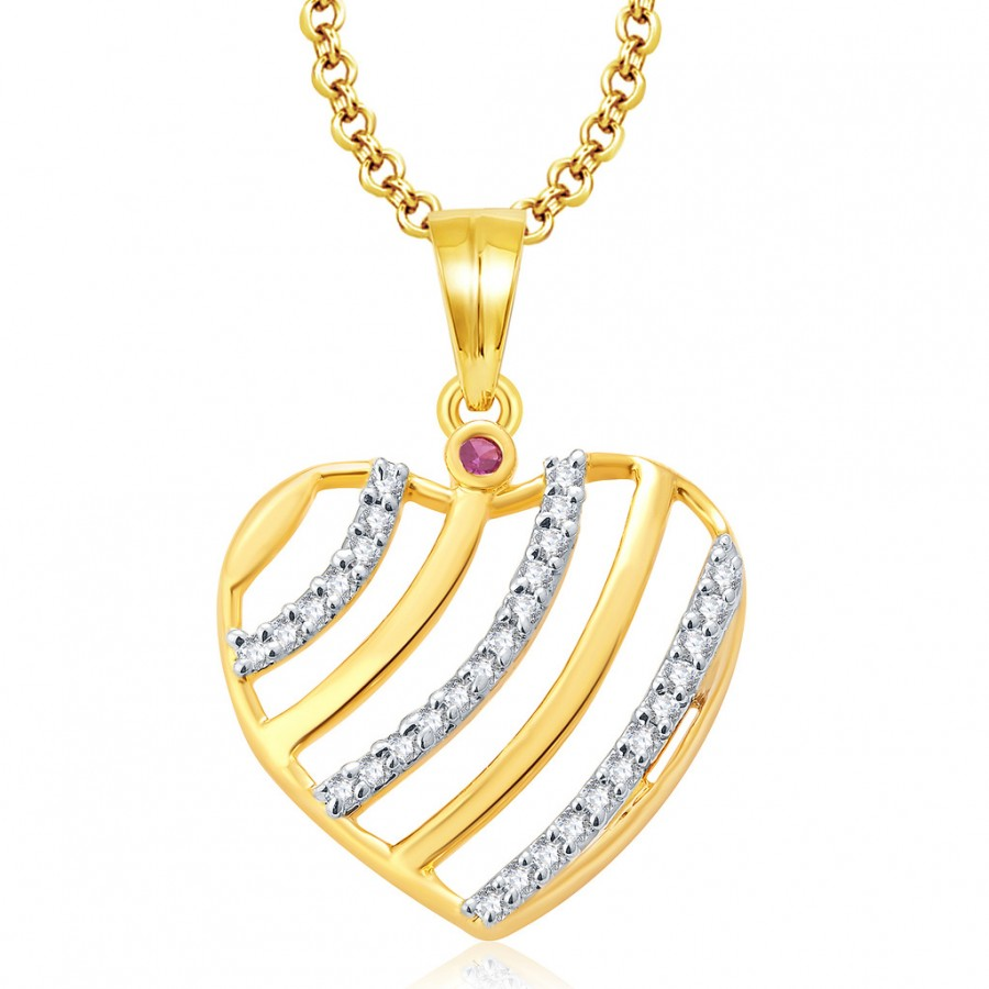 Buy Pissara Cute Gold And Rhodium Plated Ruby CZ Pendant For Women Online