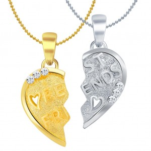 Buy Sukkhi BEST FRIENDS Gold and Rhodium Plated Lovely 2 in 1 Valentine Broken Heart Pendant with Chain Online