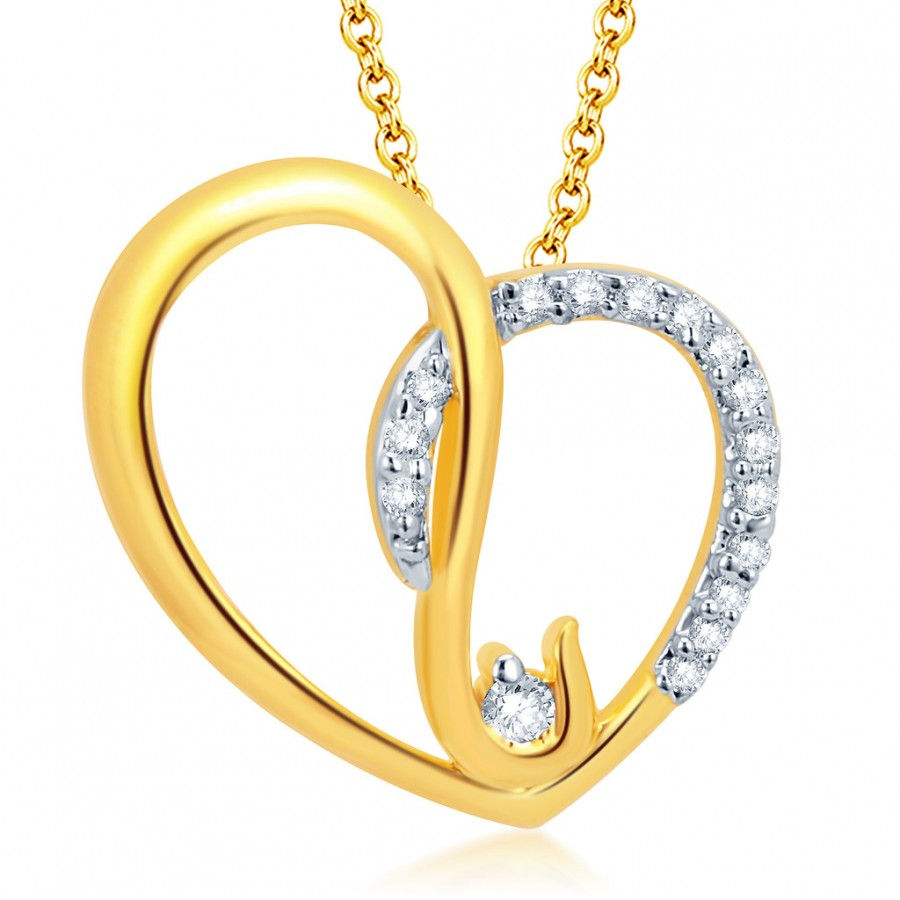 Buy Pissara Marvellous Gold and Rhodium Plated CZ Heart Pendant With Chain Online