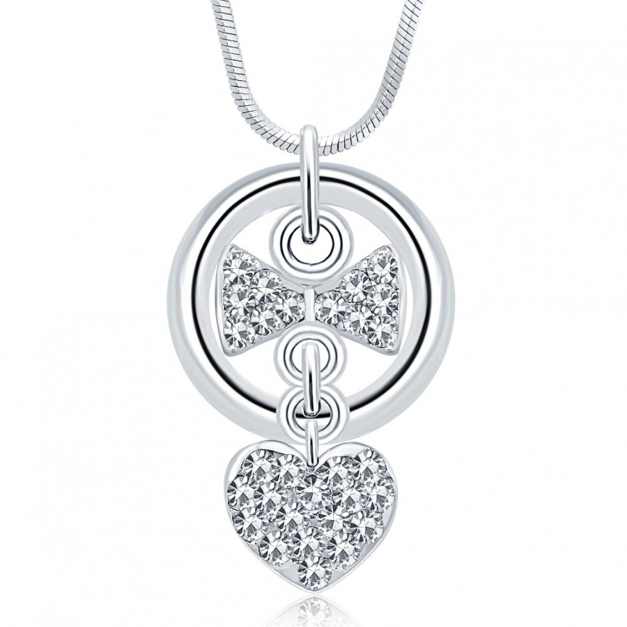 Buy Sukkhi Pleasing Rhodium Plated Austrian Crystal Valentine Heart Pendant With Chain Online