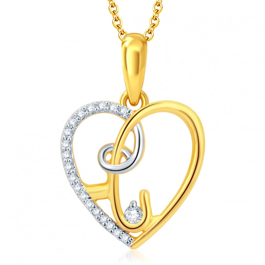 Buy Pissara Estonish Gold and Rhodium Plated CZ Heart Pendant With Chain Online