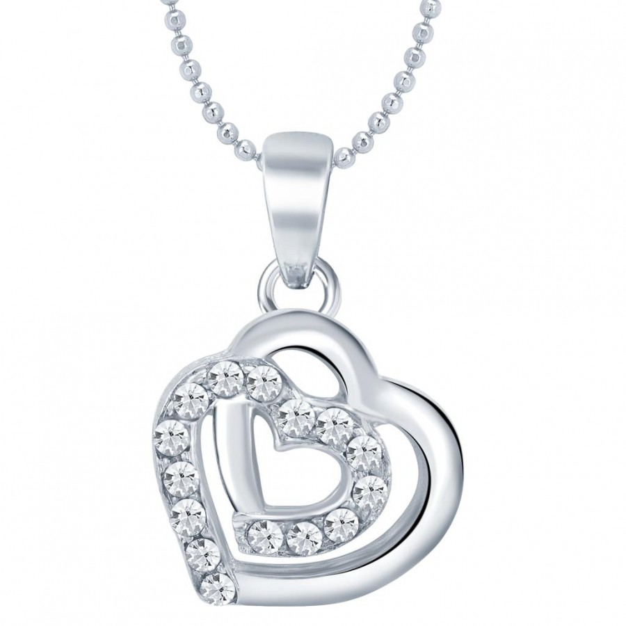 Buy Sukkhi Magnificent Rhodium Plated Valentine Heart Pendant with Chain Online