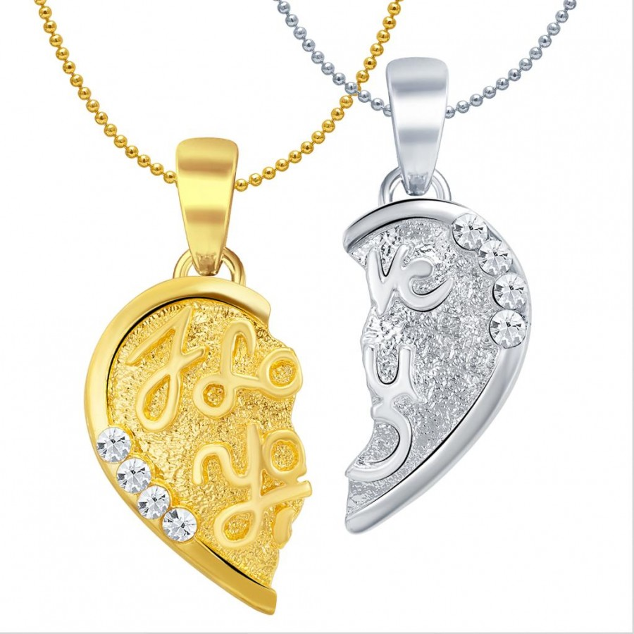 Buy Sukkhi I LOVE YOU Gold and Rhodium Plated 2 in 1 Valentine Broken Heart Pendant with Chain Online