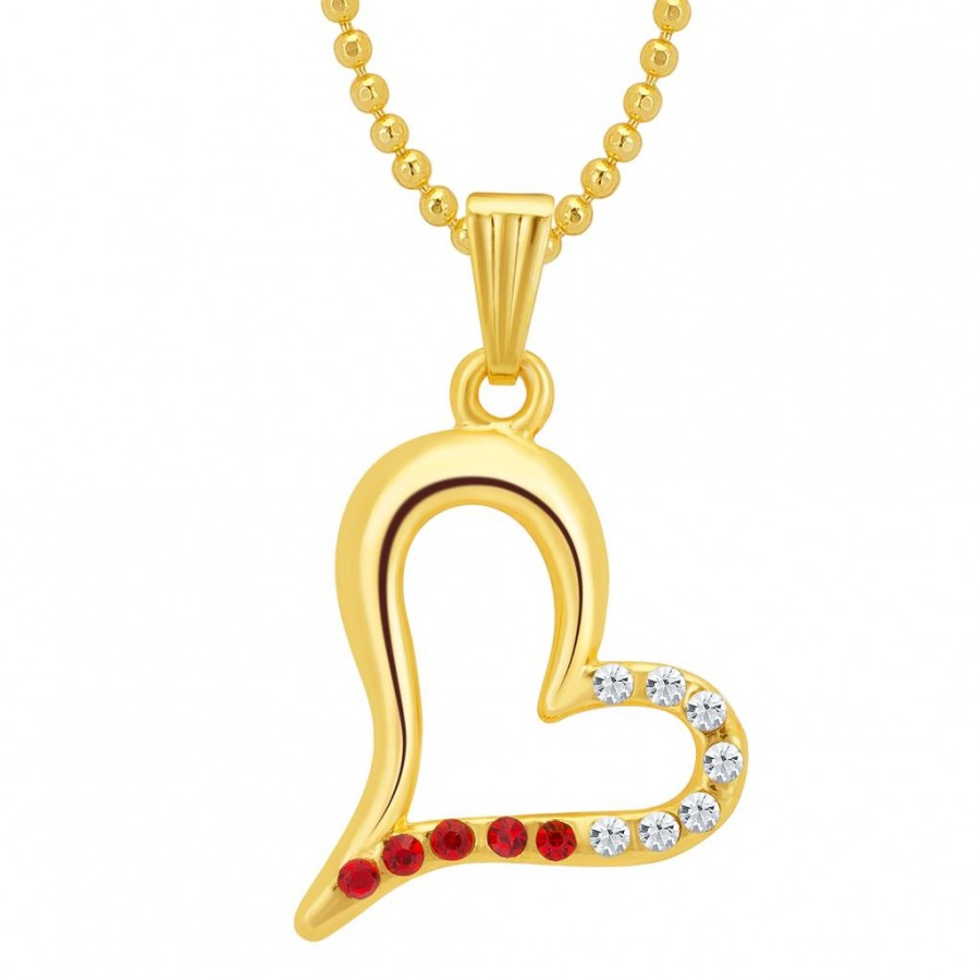 Buy Sukkhi Pleasing Gold and Rhodium Plated Valentine Heart Pendant with Chain Online