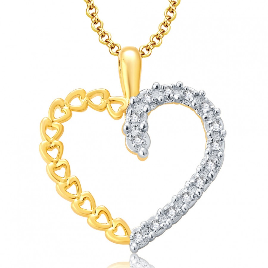 Buy Pissara Sweety Gold And Rhodium Plated CZ Pendant For Women Online