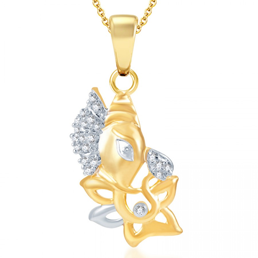 Buy Pissara Indian Wedding Gold and Rhodium Plated CZ God Pendant Online