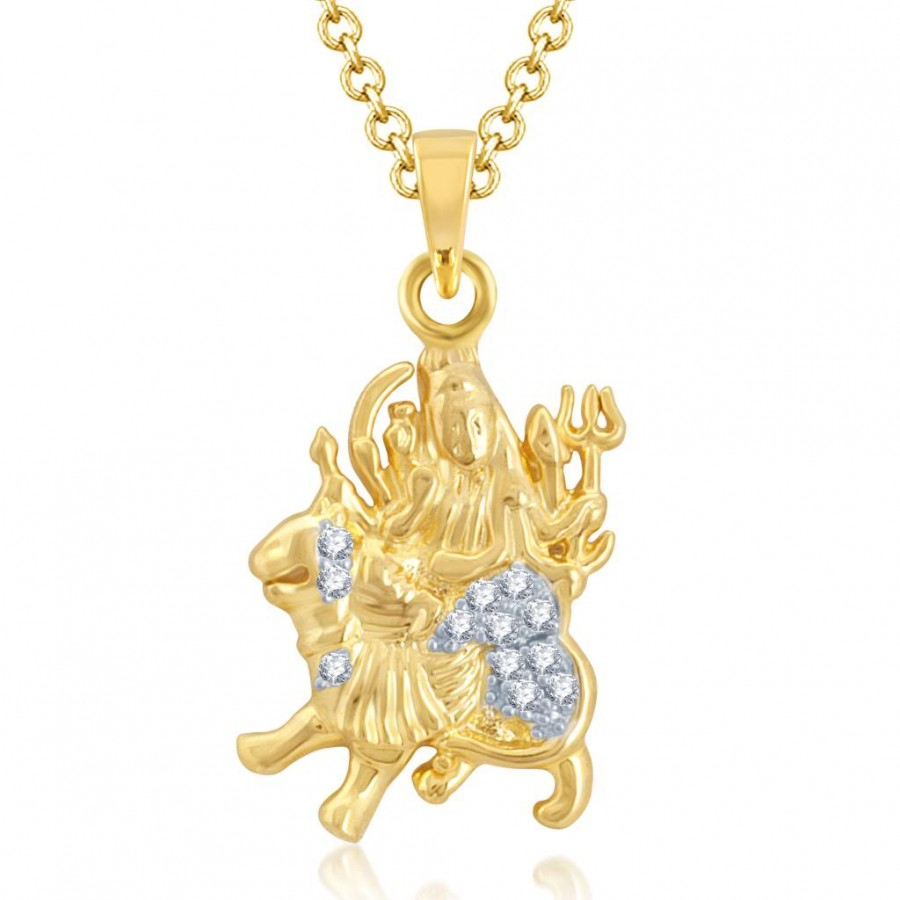 Buy Pissara Sparkling Gold and Rhodium Plated Cubic Zirconia Stone Studded God Pendant Online