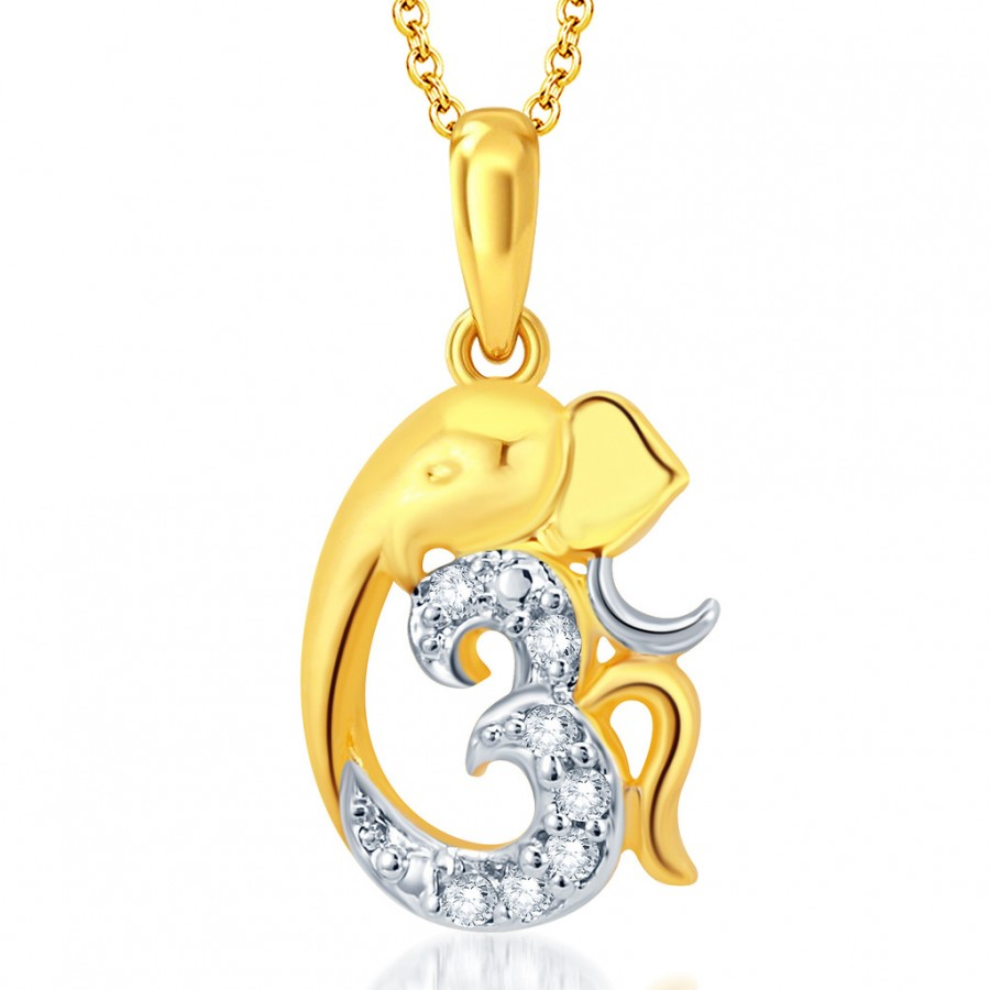 Buy Pissara Gorgeous Gold and Rhodium Plated CZ Om Ganesha God Pendant With Chain Online