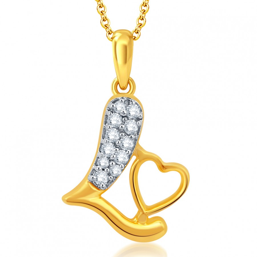 Buy Pissara Stylish Gold and Rhodium Plated CZ Love Pendant With Chain Online