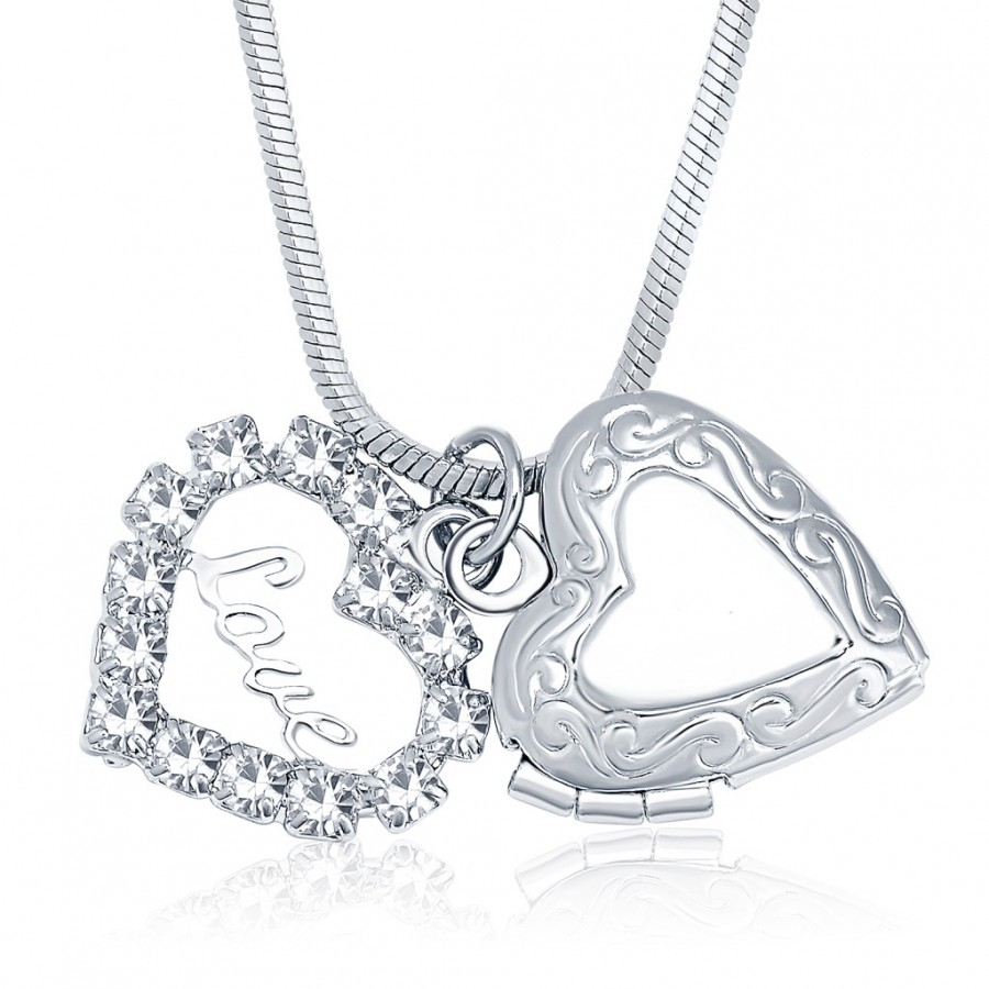 Buy Sukkhi Graceful Openable Rhodium Plated Austrian Crystal Valentine Heart Pendant With Chain Online