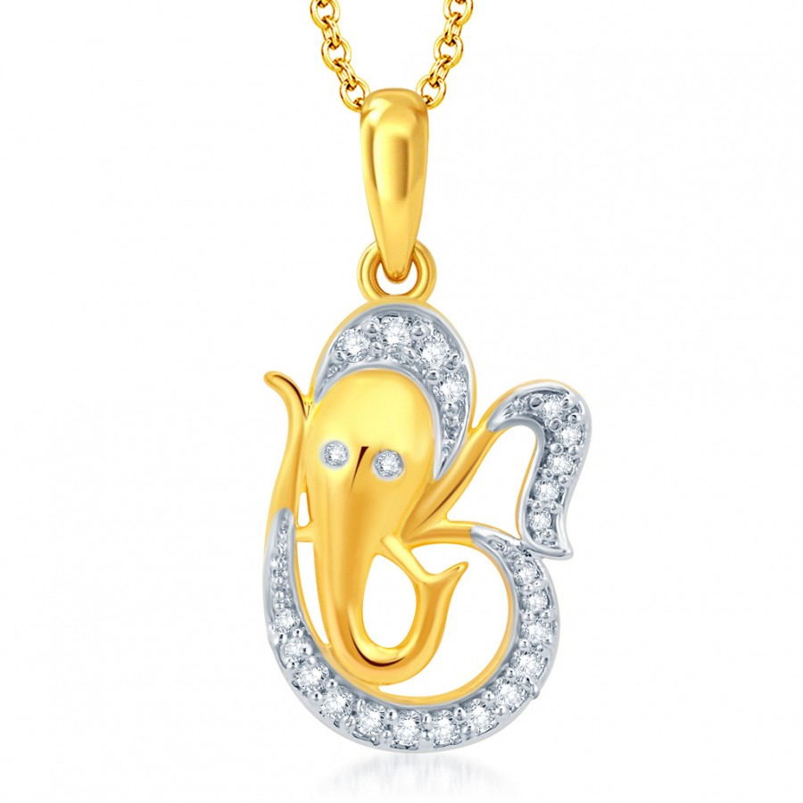 Buy Pissara Angelic Gold and Rhodium Plated CZ OM Ganesha God Pendant With Chain Online