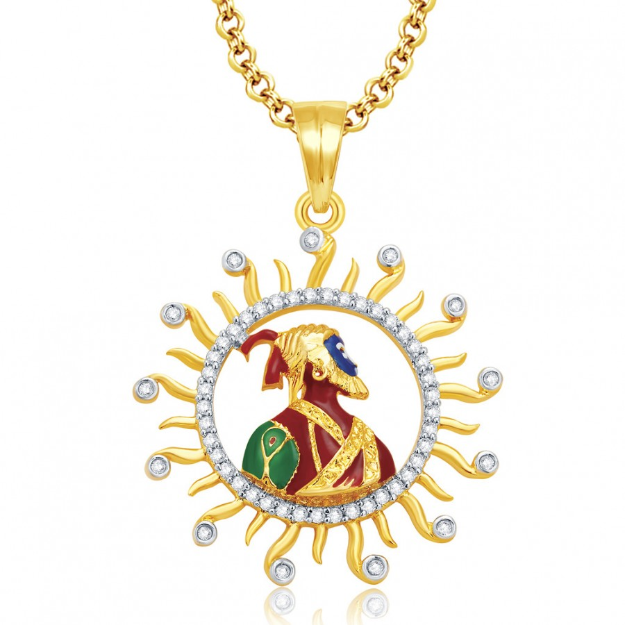 Buy Pissara Shivaji Maharaj Gold And Rhodium Plated CZ Pendant For Women Online