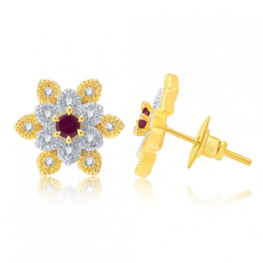 Buy Pissara Classy Gold And Rhodium Plated Ruby CZ Stud Earrings For Women Online
