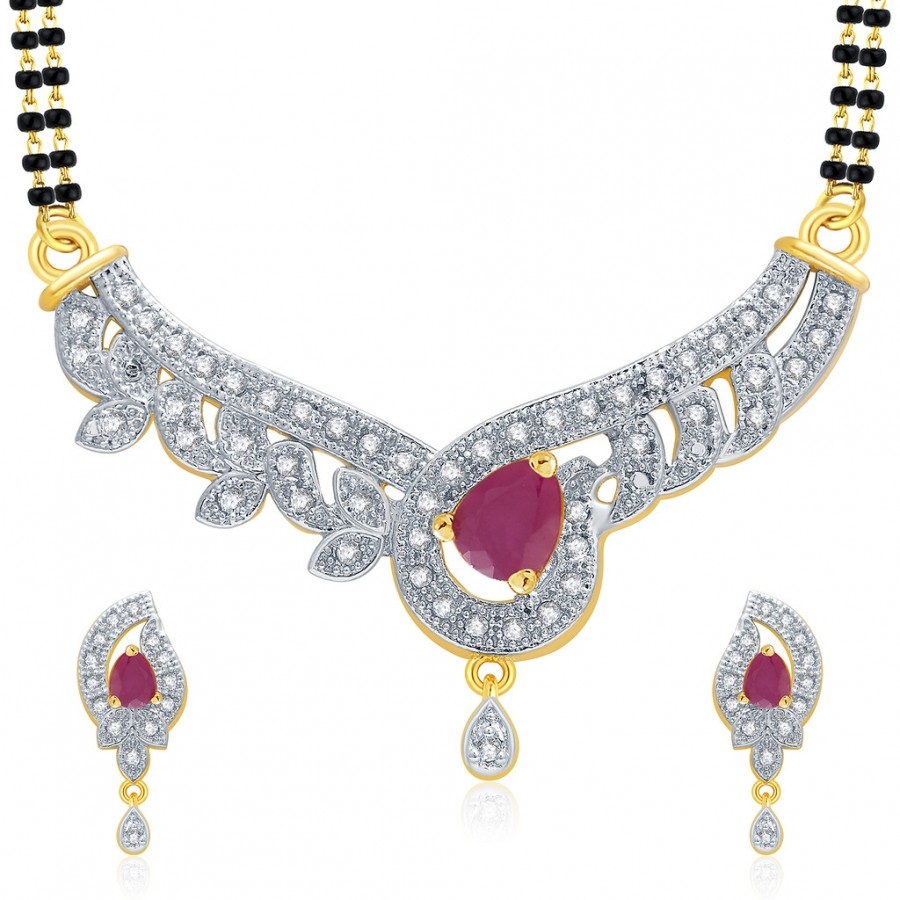 Buy Pissara Sensational Gold And Rhodium Plated Ruby CZ Mangalasutra Set For Women Online