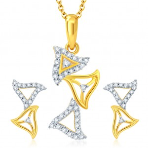 Buy Pissara Beguilling Gold and Rhodium Plated CZ Pendant Set Online