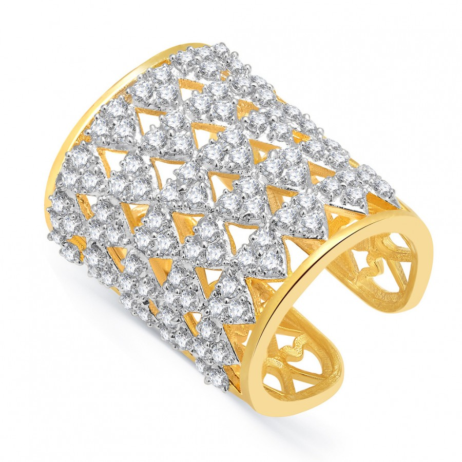 Buy Pissara Dangly Gold And Rhodium Plated CZ Ring For Women Online
