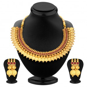 Buy Pissara Marvellous Gold Plated Temple Jewellery Coin Necklace Set For Women Online