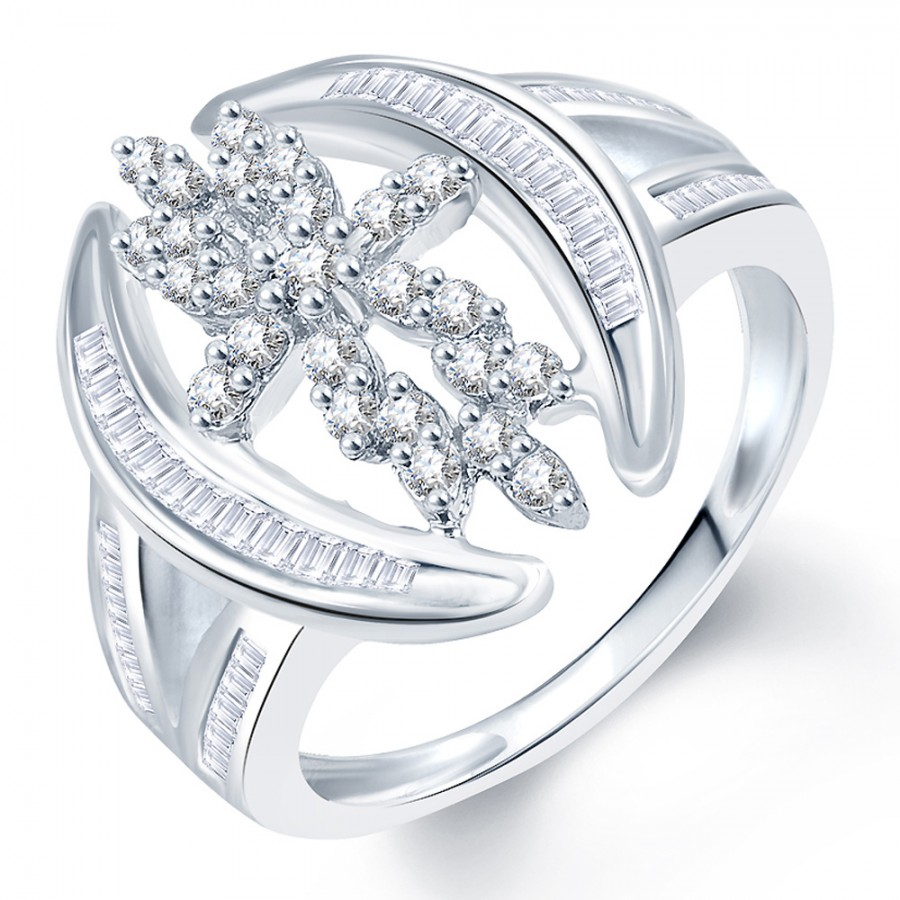 Buy Pissara Fashionable Rhodium Plated CZ Ring Online