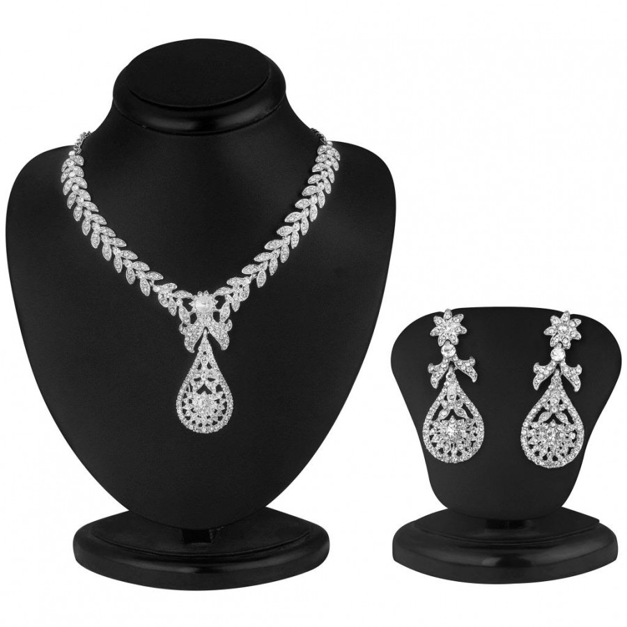 Buy Sukkhi Pleasing Rhodium plated AD Stone Necklace Set Online