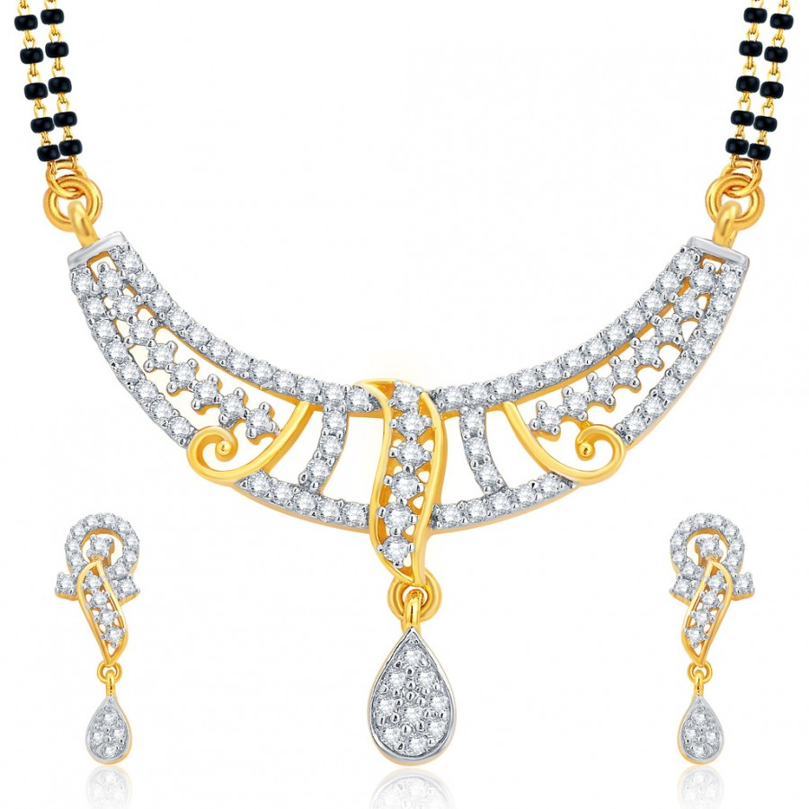 Buy Pissara Intricately Gold and Rhodium Plated CZ Mangalsutra Set For Women Online