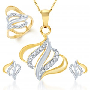 Buy Pissara Traditional Marriage Gold and Rhodium Plated CZ Pendant Set and Ring Combo Online