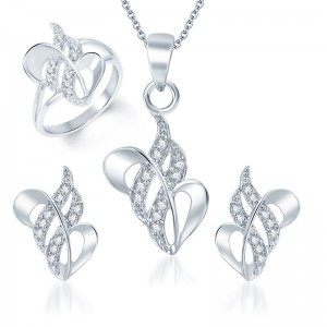 Buy Pissara Fancy Rhodium Plated CZ Pandent Set and Ring Combo Online
