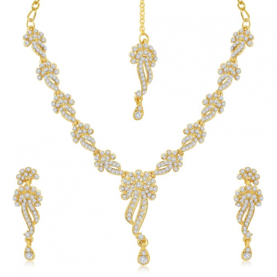 Buy Sukkhi Beguiling Gold Plated Australian Diamond Stone Studded Necklace Set Online