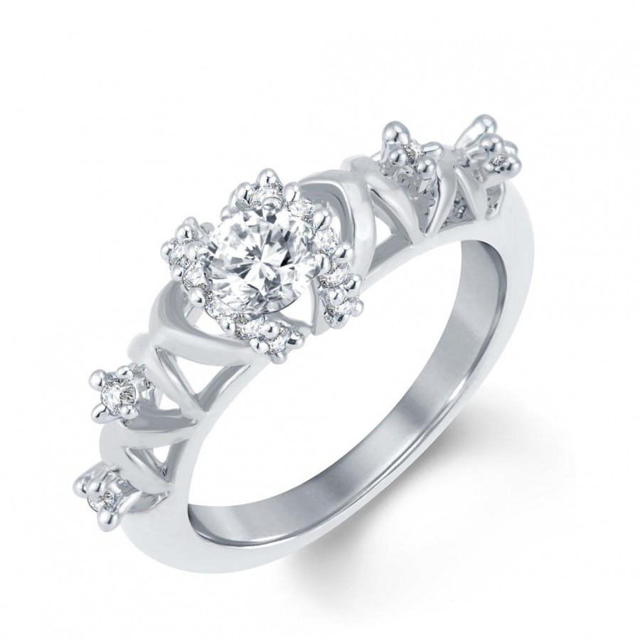 Buy Pissara Pleasing Rhodium Plated Cubic Zirconia Ring Online