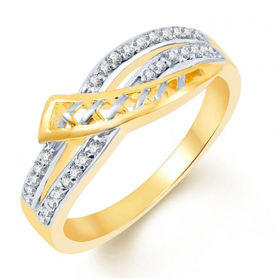 Buy Pissara Classy Two Tone CZ Studded Ring Online