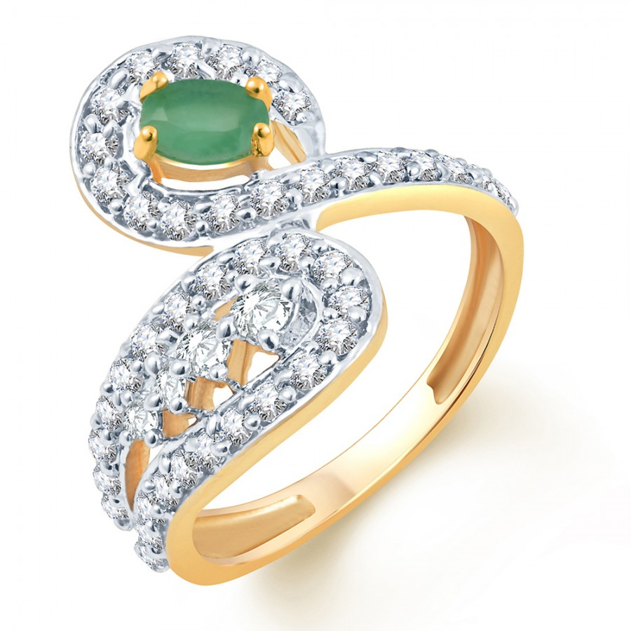 Buy Pissara Moddish Two Tone CZ Emerald Ring Online