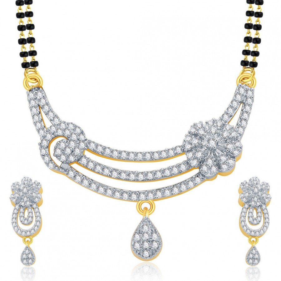 Buy Pissara Slender Gold And Rhodium Plated CZ Mangalasutra Set For Women Online