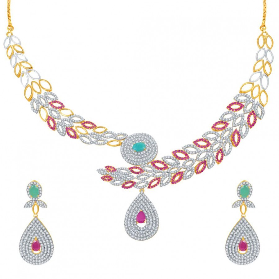 Buy Pissara Marvellous Ruby and Emerald Studded Gold and Rhodium Plated CZ Necklace Set Online