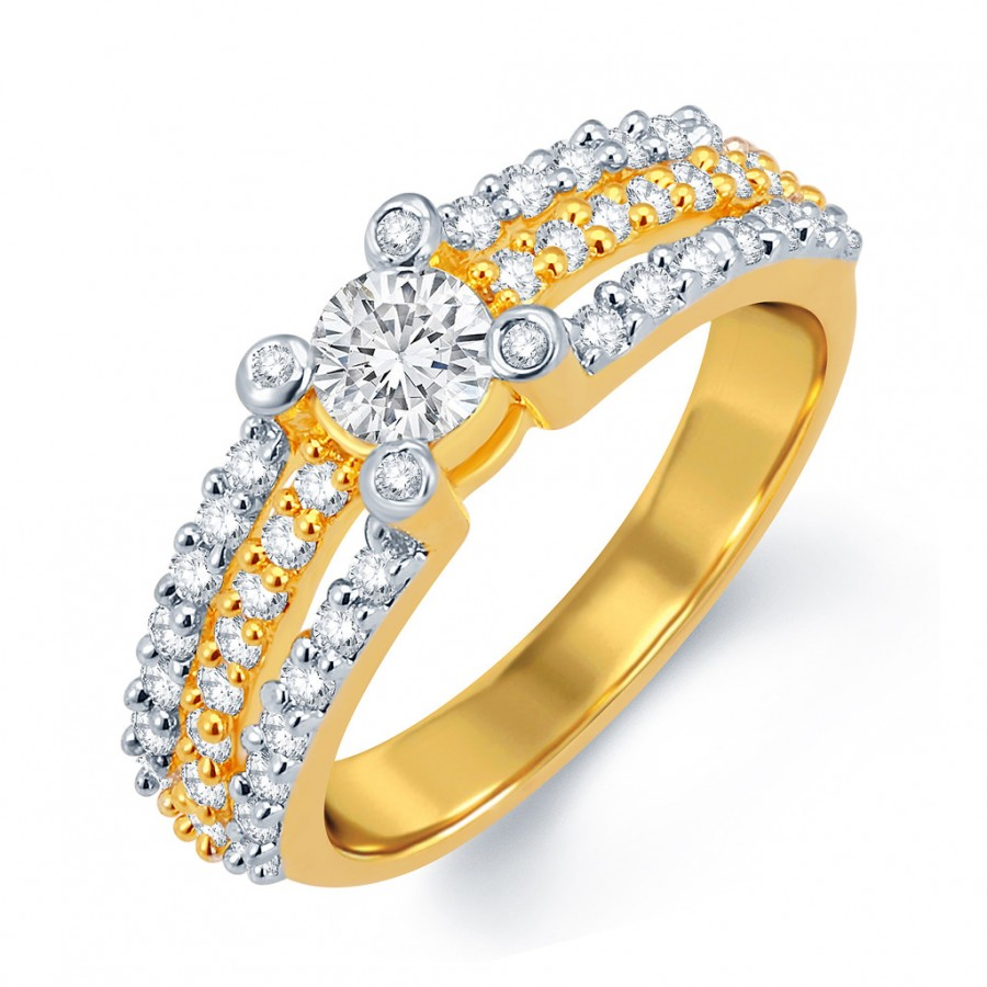 Buy Pissara Dazzling Gold and Rhodium Plated CZ Solitaire Ring Online