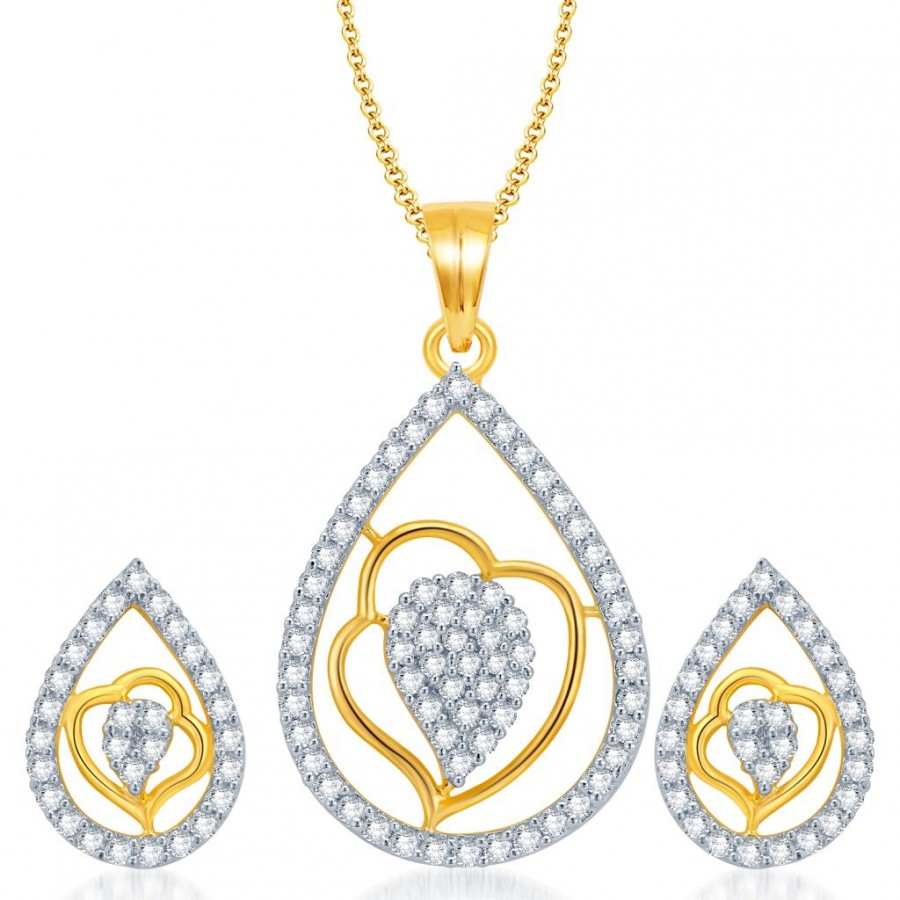 Buy Pissara Exquisite Gold and Rhodium Plated CZ Pendant Set for Women Online