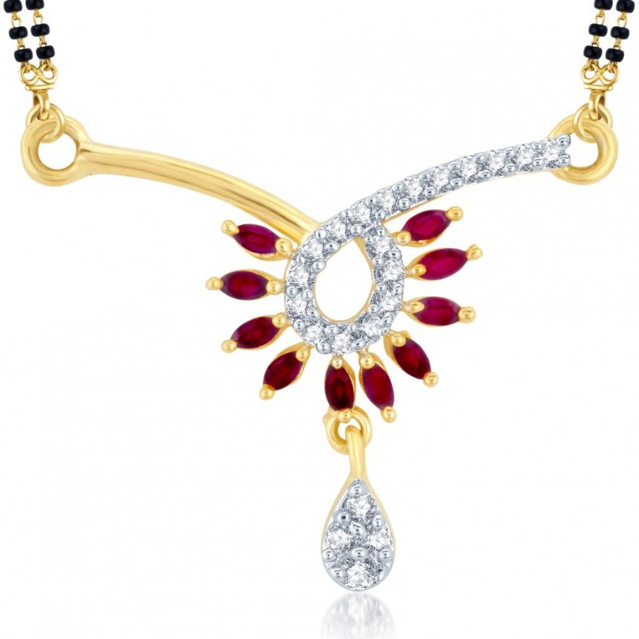 Buy Pissara Divine Gold and Rhodium Plated Cubic Zirconia and Ruby Stone Studded Mangalsutra Pendant Online