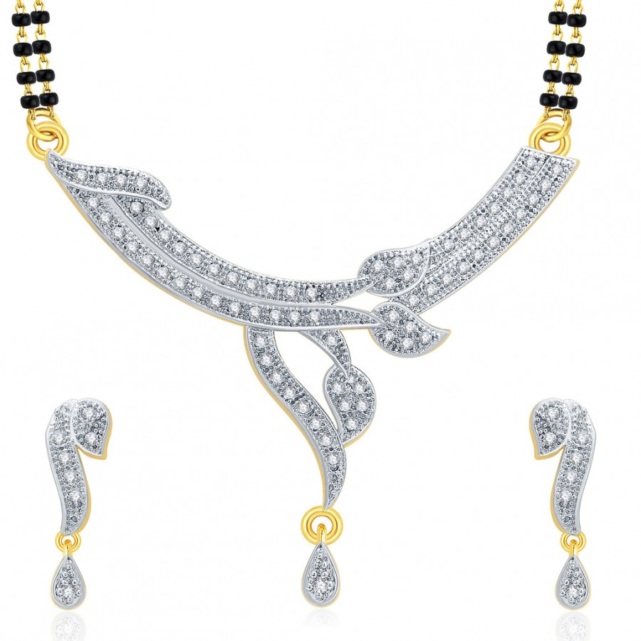 Buy Pissara Spellbinding Gold And Rhodium Plated CZ Mangalasutra Set For Women Online