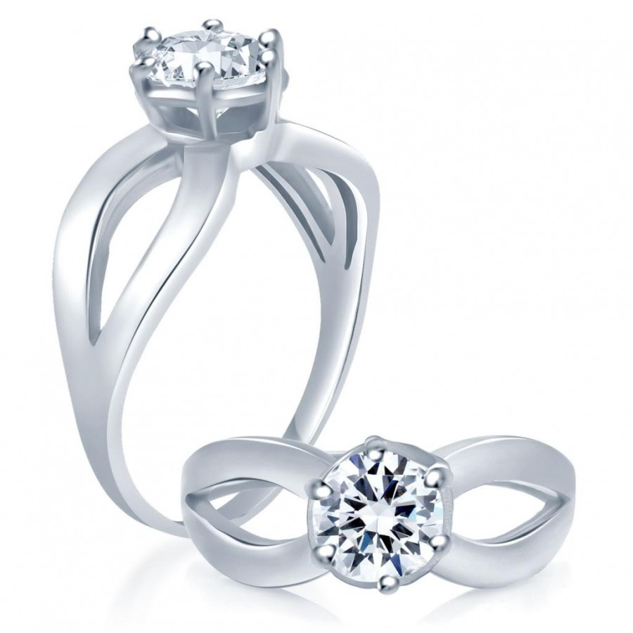Buy Pissara Modern Rhodium Plated Cubic Zirconia Stone Studded Solitaire Ring Online