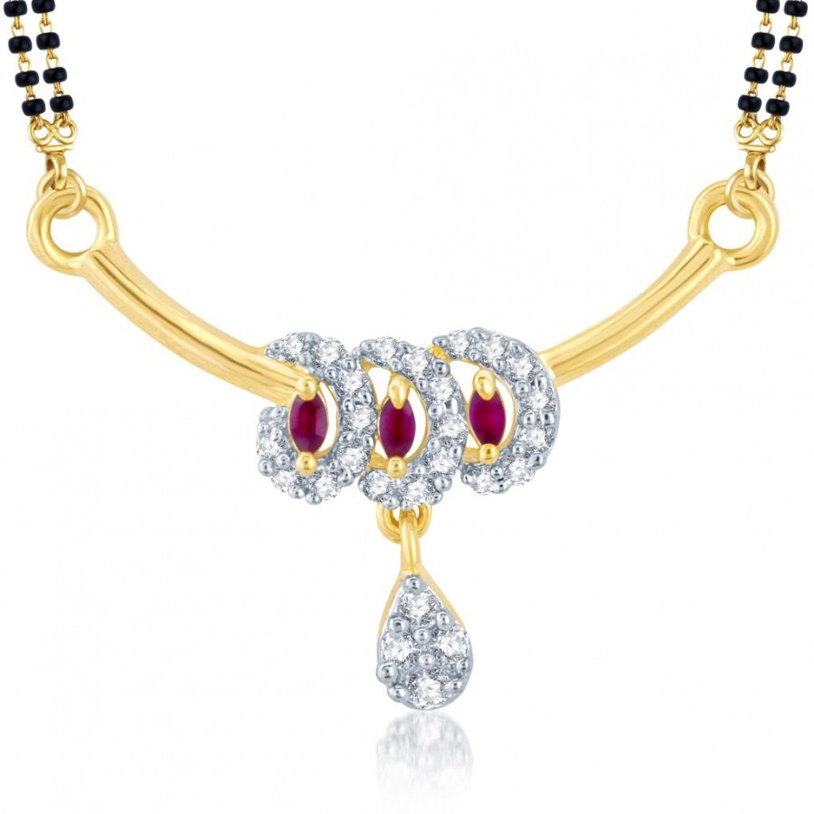 Buy Pissara Shimmering Gold and Rhodium Plated Cubic Zirconia and Ruby Stone Studded Mangalsutra Pendant Online