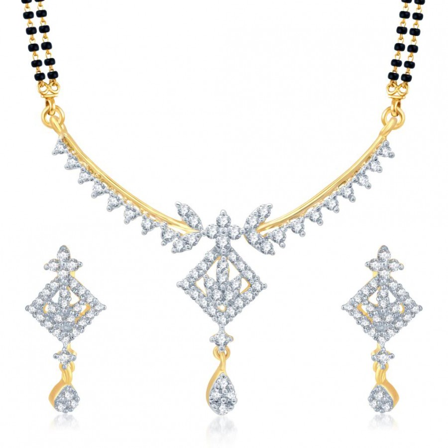 Buy Pissara Pleasing Gold and Rhodium Plated Cubic Zirconia Stone Studded Mangalsutra Set Online