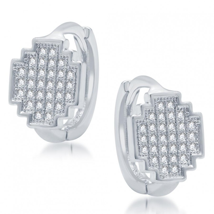 Buy Pissara Gleaming Rhodium Plated Micro Pave CZ Earrings Online