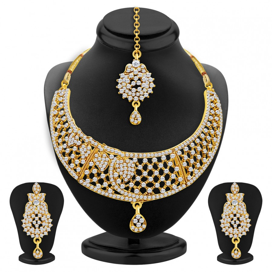 Buy Sukkhi Luxurious Gold Plated AD Necklace Set For Women Online