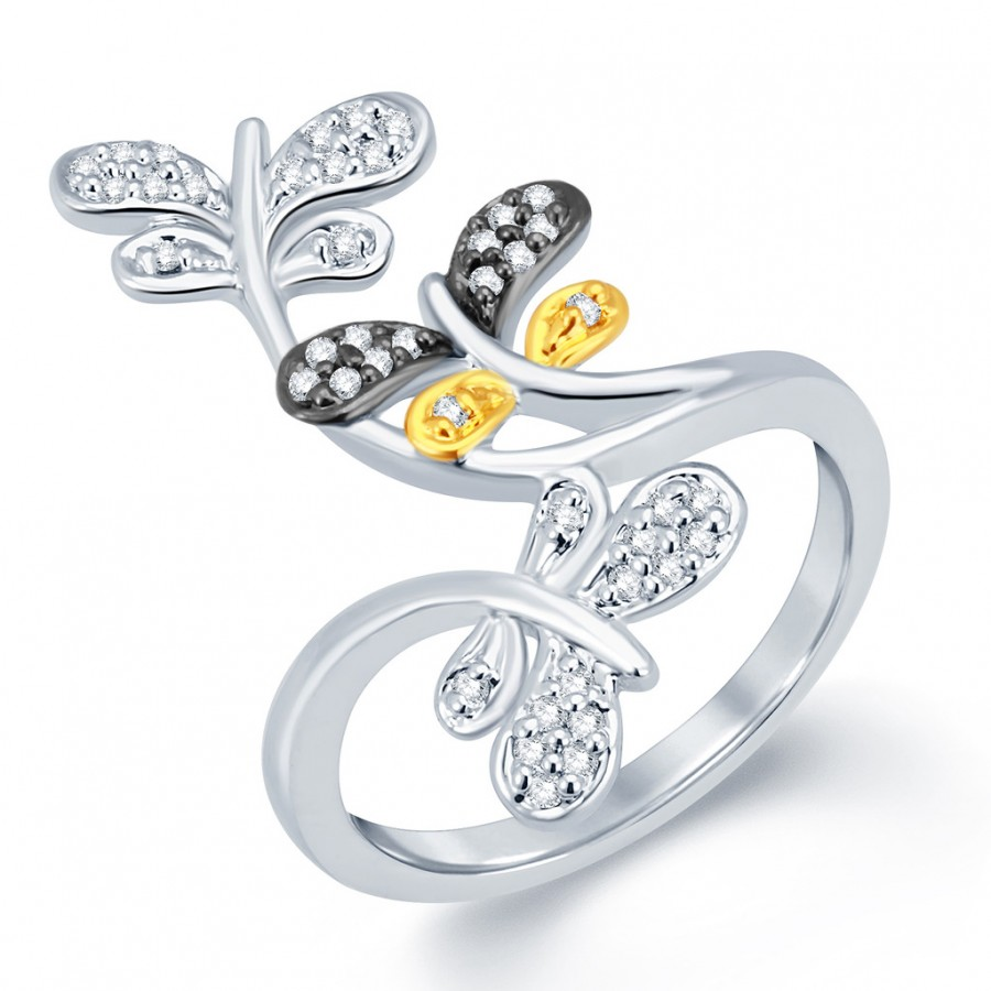 Buy Pissara Marvelous Gold and Rhodium Plated CZ Ring Online