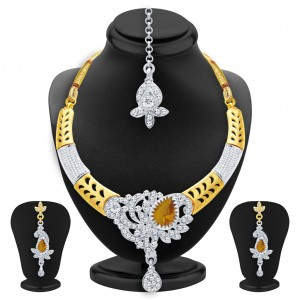 Buy Sukkhi Pleasing Gold & Rhodium Plated AD Necklace Set with Set of 5 Changeable Stone For Women Online