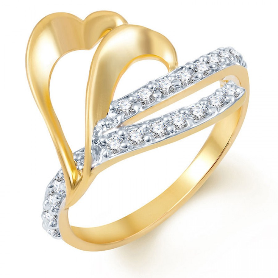 Buy Pissara Gleaming Gold and Rhodium Plated CZ Ring Online