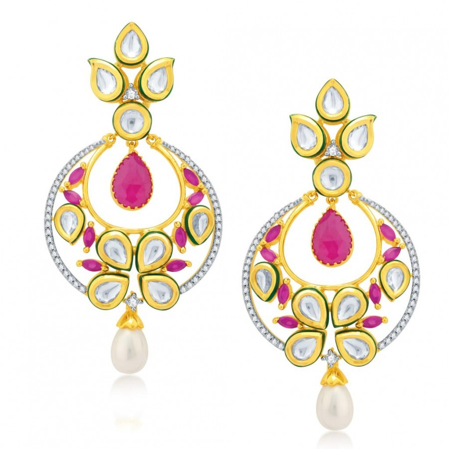 Buy Pissara Fine Gold Plated Kundan and CZ Fusion Earrings Online